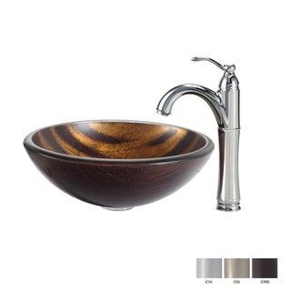 Kraus Bastet Glass Vessel Sink and Riviera Faucet