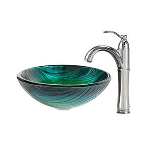 Kraus Nei Glass Vessel Sink and Riviera Faucet