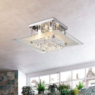 Lucia Square Chrome and Crystal Flush Mount 4-light Chandelier