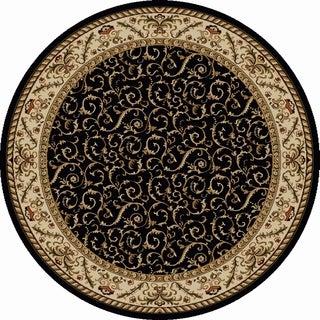 Amalfi Black Scroll Oriental Area Rug (5'3 Round)