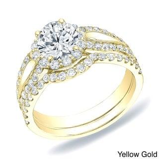 Auriya 14k Gold 1 1/2ct TDW Round Diamond Halo Bridal Ring Set (H-I, SI1-SI2)