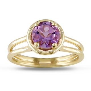 Miadora Signature Collection 14k Yellow Gold Amethyst Solitaire Ring