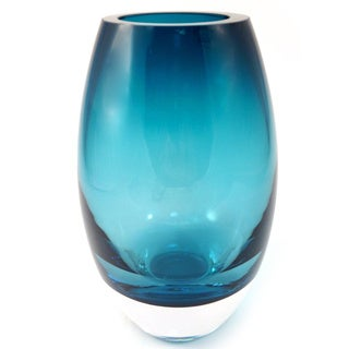 Radiant Peacock Blue 9-inch Glass Vase