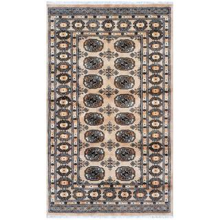 Pakistani Hand-knotted Bokhara Beige/ Gold Wool Rug (3'1 x 5'1)