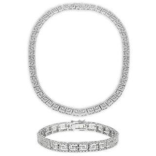 Finesque 1/4ct TDW Diamond Greek Key Necklace with Bonus Bracelet (I-J, I2-I3)
