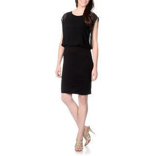 Chelsea & Theodore Women's Solid Black Blouson Dress