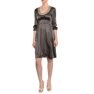 Cynthia Rowley Women's Enchanting 3/4-length Sleeve Grey Silk Cocktail Party Dress