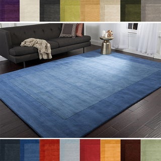 Hand Loomed Odessa Solid Bordered Tone-On-Tone Wool Area Rug-(9'9 Square)