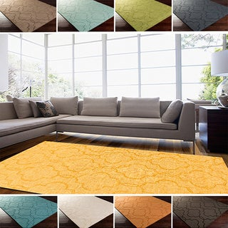 Hand Loomed Peoria Casual Solid Tone-On-Tone Moroccan Trellis Wool Area Rugs (5' x 8')