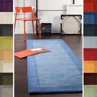 Hand Loomed Mali Solid Bordered Tone-On-Tone Wool Area Rug (2'6 x 8')