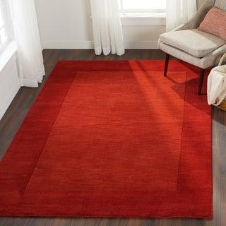 Hand Loomed Ghana Solid Bordered Tone-On-Tone Wool Area Rug (5' x 8')