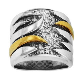 Sonia Bitton 14k Yellow Gold/ Sterling Silver 1/6ct TDW Diamond Two-tone Ring (H-I, SI1-SI2)