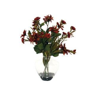 Straw and Dahlia Glass Vase Silk Arrangement