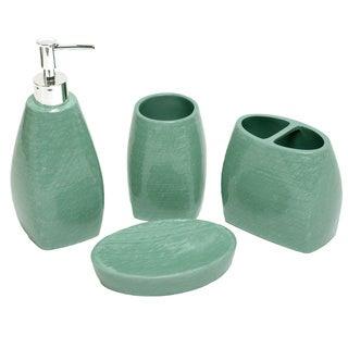 Petals Turquoise Bath Accessory 4-piece Set