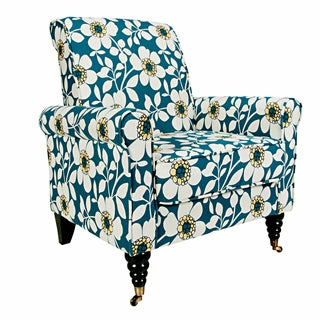 Portfolio Hyde Blue Modern Flower Arm Chair
