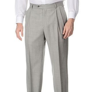 Henry Grethel Men's Big & Tall Grey Stretch Waist Pleated Front Pants