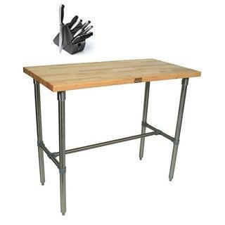 John Boos CUCNB08 Cucina Americana Classico Table with Henckels 13 Piece Knife Block Set