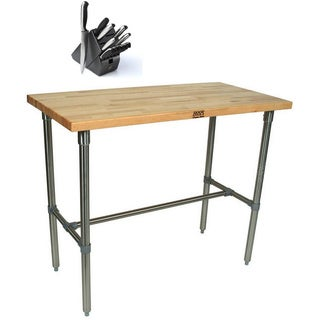 John Boos CUCNB02 Cucina Americana Classico 48x24 inch Table and Henckels 13 Piece Knife Block Set