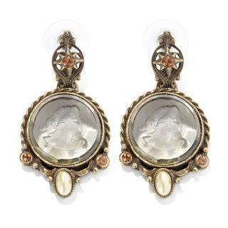 Sweet Romance Burnished Bronzetone Intaglio and Pearl Earrings