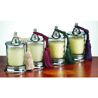 Covered 5.5-inch Vanilla-scented Replaceable Tassel Candle Jars (Set of 4)