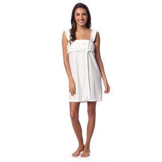 Aegean Apparel Women's White Knit Terry Ruffled Shower Wrap