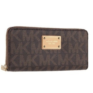 MICHAEL Michael Kors Logo Zip Continental PVC Wallet, Brown