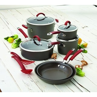 Rachael Ray Cucina Red/ Grey Hard-anodized Nonstick 12-piece Cookware Set