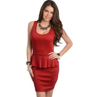 Feellib Women's Wine Sleeveless Peplum Dress