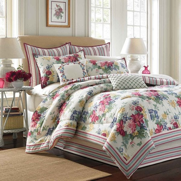 Laura Ashley Melinda 4 Piece Comforter Set With European