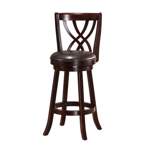 Solid Cappuccino Swivel Back Barstool Overstock Shopping