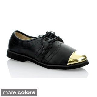 Marilyn Moda Women's 'Gotty' Metal Toe-cap Topstitched Oxford Shoes