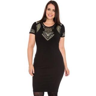 A Plus Style Women's Plus Size Black Studded Neckline Knee-length Dress