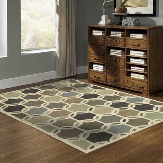 Transitional Circles Ivory/ Multi Rug (5'3 x 7'3)