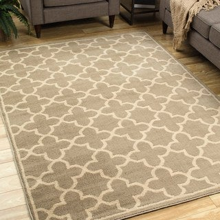 Casual Trellis Brown/ Tan Area Rug (5'3 X 7'3)