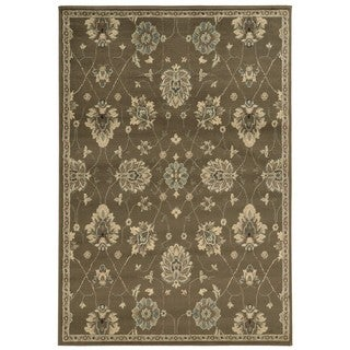 Casual Floral Brown/ Beige Area Rug (5'3 x 7'3)