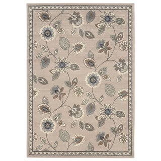 Casual Floral Stone/ Blue Area Rug (5'3 x 7'3)