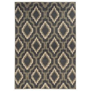 Ikat Lattice Design Charcoal/ Grey Area Rug (5'3 x 7'3)