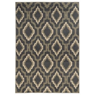 Ikat Lattice Charcoal/ Grey Area Rug (6'7 x 9'3)