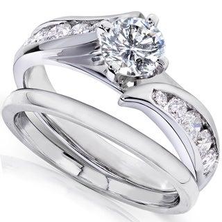Annello 14k White Gold 1ct TDW Diamond 2-piece Bridal Ring Set (H-I, I1-I2)