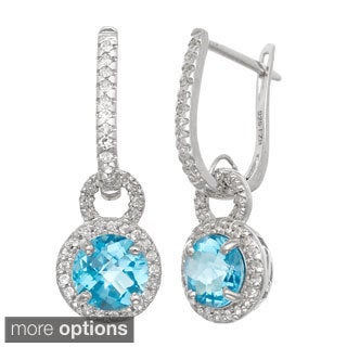 Gioelli Sterling Silver Gemstone and White Sapphire Accent Latchback Earrings