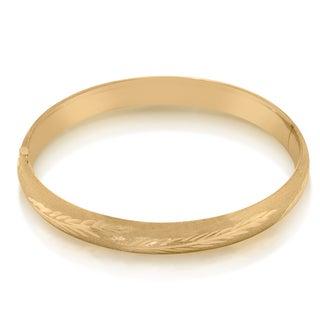 Gioelli 14k Yellow Gold Wide Leaf Satin Bangle Bracelet