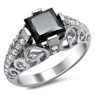 14k White Gold 1 3/4ct TDW Black Princess-cut Swirl Design Diamond Ring