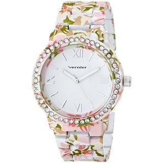Vernier Women's 'Soft Touch' All Over Floral Stone Bezel Watch
