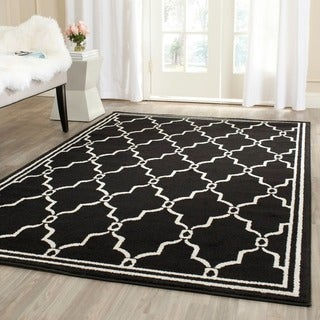 Safavieh Amherst Indoor/ Outdoor Anthracite/ Ivory Rug (7' Square)