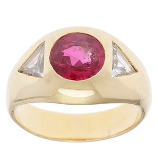 Pre-owned 18k Yellow Gold 3/5ct TDW Certified Diamond and Ruby Estate Ring (H-I, SI1-SI2)