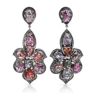 18k Yellow Gold and Sterling Silver, Pink Spinel, 5/8ct TDW Diamond Earrings (G-H, I2-I3)