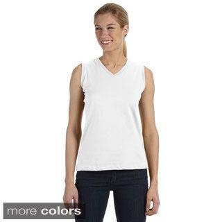LAT Women's Combed Ringspun V-neck Sleeveless T-Shirt