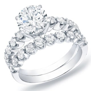 Auriya 14k Gold 2ct TDW Certified Diamond Bridal Ring Set (H-I, SI1-SI2)