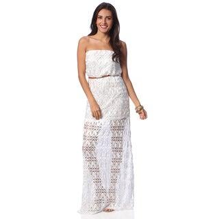 Hadari Women's White Crochet Overlay Maxi Dress