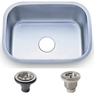 23.5-inch Stainless Steel 18 gauge Undermount Single Bowl Kitchen Sink Basket